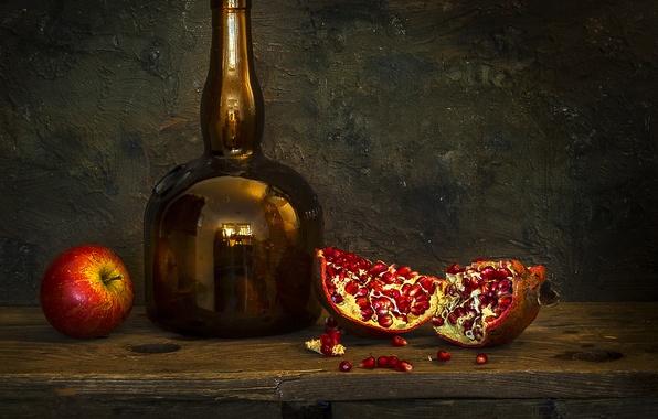 Picture style, photo, bottle, Apple, still life, garnet, bottle, pseudoeuops, Mostapha Merab Samii