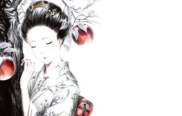 Picture girl, decoration, tree, apples, kimono, Geisha, clips