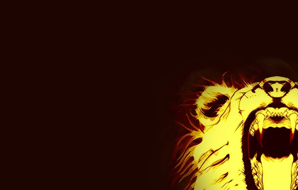 Picture Minimalism, Fire, Leo, Fangs, fire, Abstraction, Animals, lion
