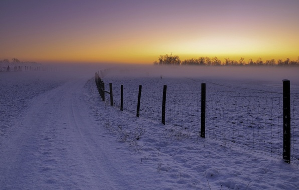 Picture winter, road, landscape, sunset, the fence