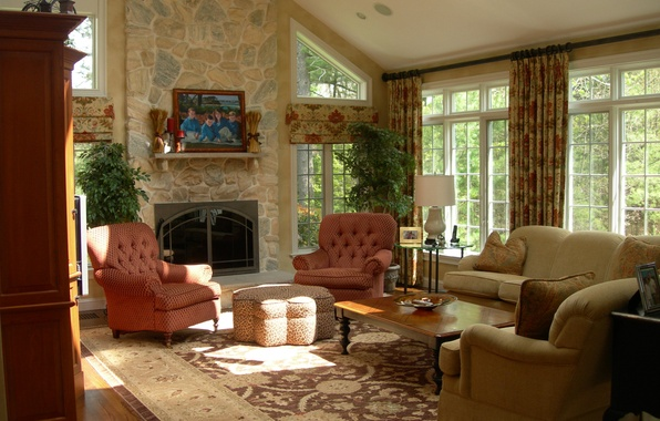 Picture design, house, style, Villa, interior, cottage, living room, living room