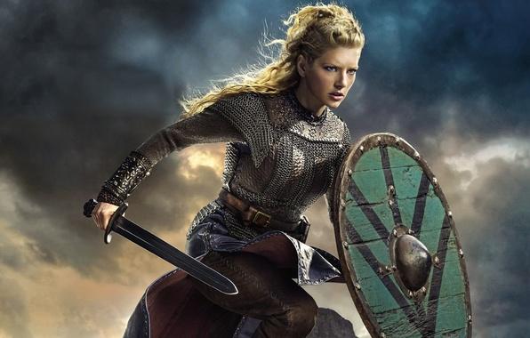 Picture the sky, sword, the series, shield, drama, Vikings, historical, The Vikings, Katheryn Winnick, Lagertha
