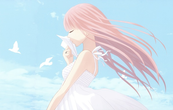 Picture the sky, girl, clouds, birds, thoughts, Vocaloid, origami