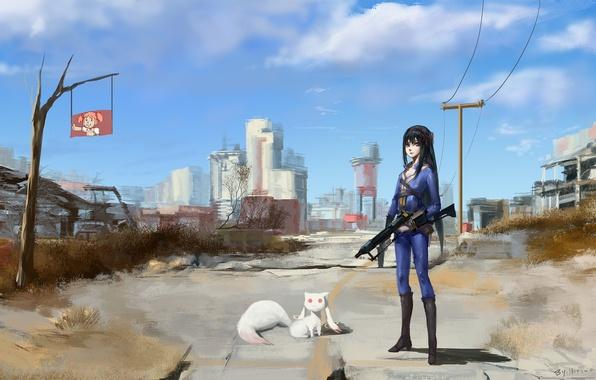 Picture cat, girl, the city, machine, Chibi, mahou shoujo madoka magica, homura akemi, madoka kaname, kyuubee, …