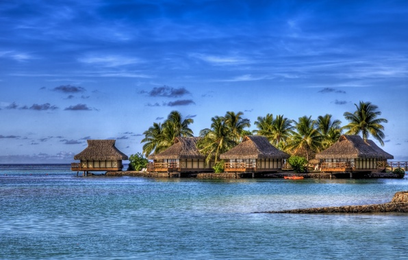 Picture sea, clouds, palm trees, island