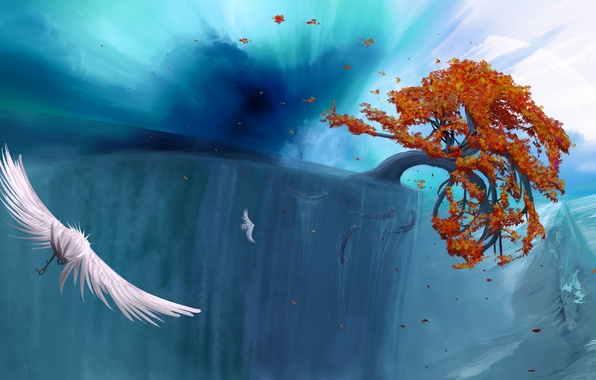 Picture autumn, leaves, water, flight, roots, open, tree, bird, view, height, art, panorama