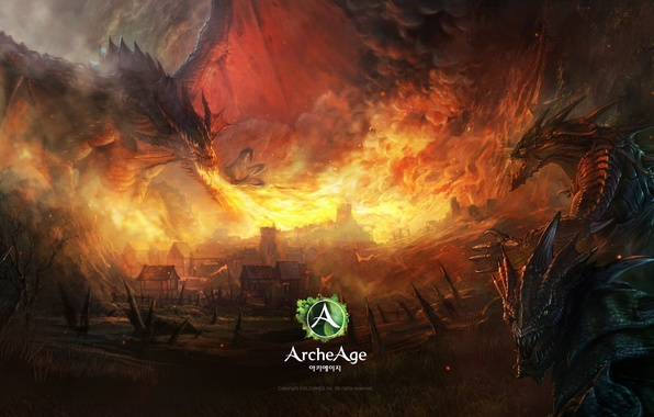 Picture fire, flame, dragon, the game, home, art, monsters, fire, game, online, art, dragon, mmorpg, online, …