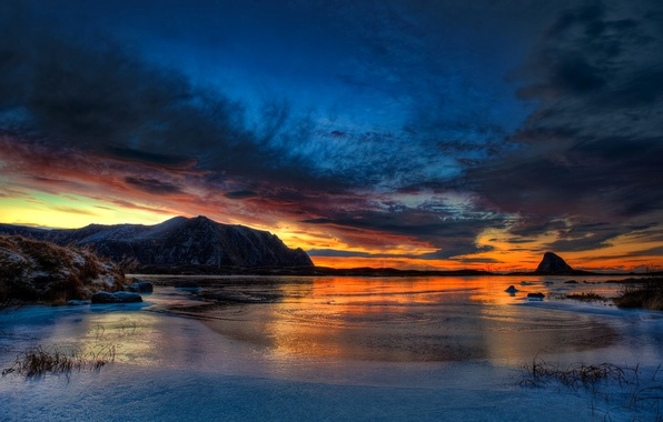 Picture ice, winter, the sky, clouds, sunset, mountains, rock, lake, glow