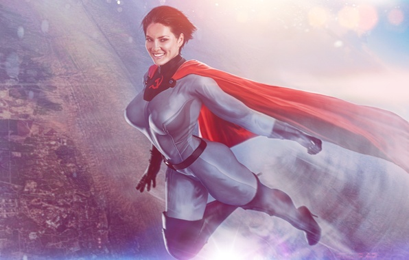 Picture girl, smile, fiction, hero, costume, cloak, superhero, art, superwoman, Soviet-Superwoman, soviet