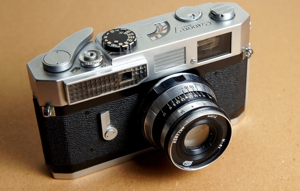Picture background, the camera, lens, zoom, shutter, Canon 7, aperture, the shutter button, Industar-61