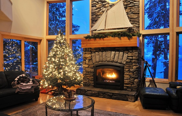 Picture snow, trees, room, furniture, Windows, leather, pipe, sail, tree, fireplace, plaid, table, Living room, glass, …