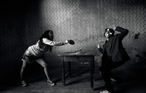 Picture girl, man, table tennis