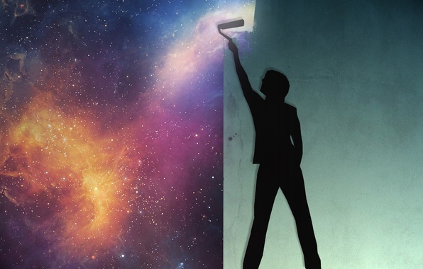 Picture space, space, wall, paint, people, Space, human