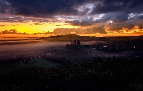 Picture autumn, sunset, Corfe Castle, Dorset, The Narratographer