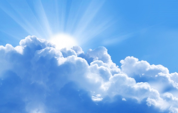 Picture the sky, the sun, clouds, rays, light, landscape, blue