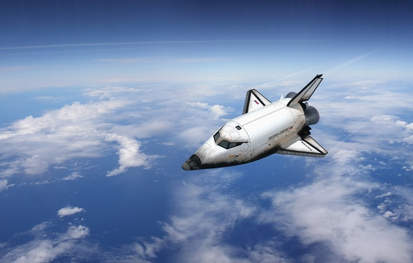 Picture space, clouds, flight, the plane, Buran