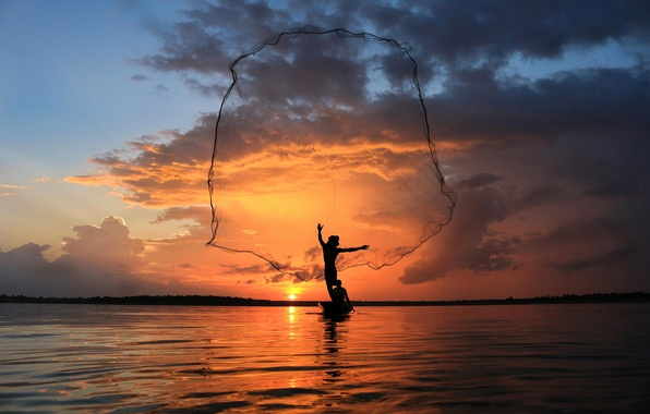 Picture the sky, sunset, network, boat, fisherman, Thailand, thailand