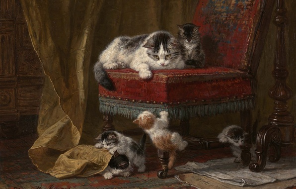 Picture cat, paint, picture, chair, kittens, kids, play, kitten, cat, art, chair, painting, five