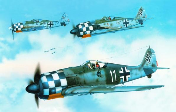 "Picture the sky, figure, art, fighters, aircraft, WW2, German, single, personal markings, George Scott, ""Focke-Wulf "" …"