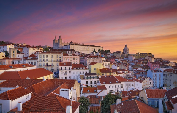 Picture roof, dawn, home, slope, panorama, glow, Portugal, Lisbon