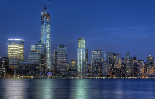 Picture building, New York, night city, Manhattan, Manhattan, NYC, New York City, One World Trade Center, …