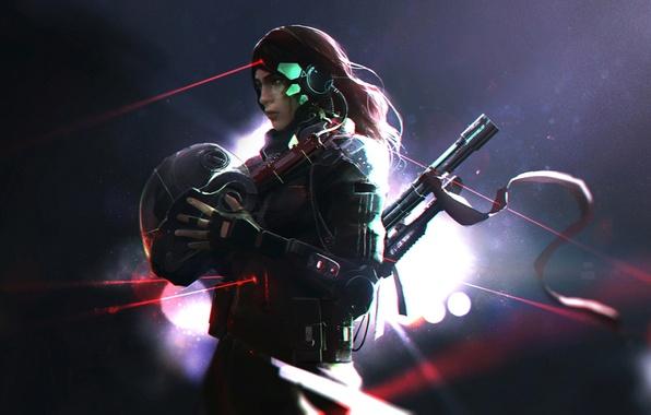 Picture weapons, art, costume, laser, helmet, agent, laser sight, laser designator