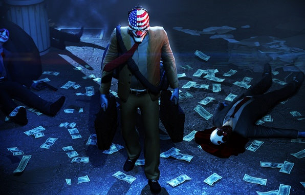 Picture money, mask, robbery, Payday 2, Overkill Software