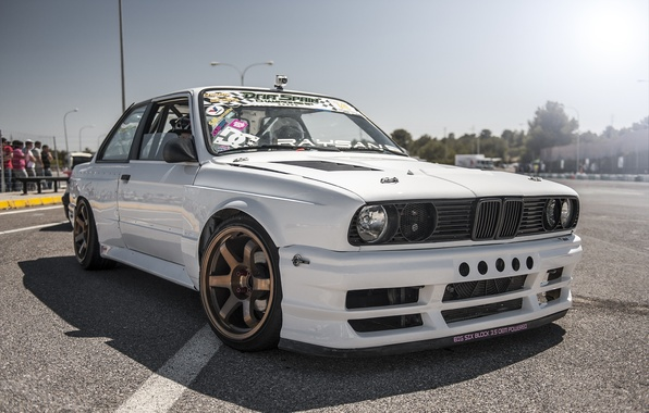 Picture BMW, white, drift car, E30