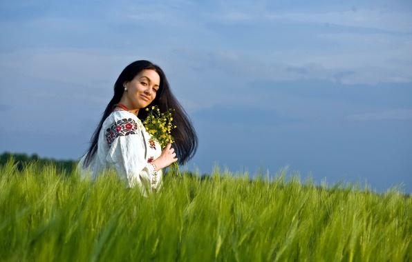 Picture field, summer, girl, flowers, mood, beauty