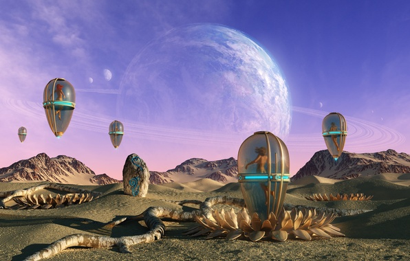 Picture sand, mountains, fantasy, girls, stone, planet, art, cocoon