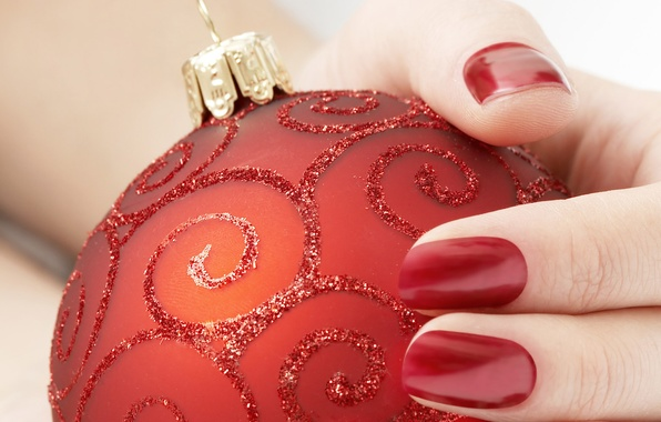 Picture red, toy, new year, hand, fingers, new year, nails, Christmas ball