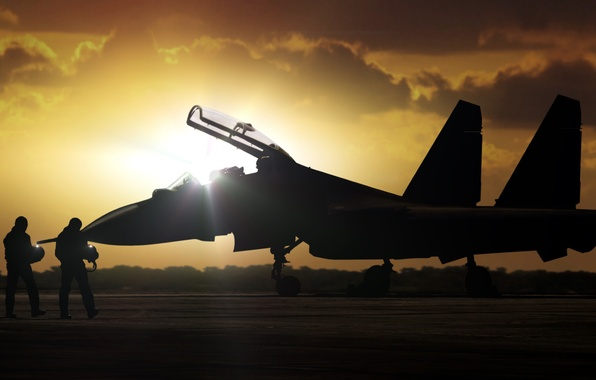 Picture the plane, dawn, fighter, silhouette, the airfield, pilots, Russia, OKB, Russian, multipurpose, Dry, airbase, Su-30, …