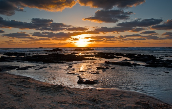 Picture sea, wave, the sky, clouds, sunset, stones, shore