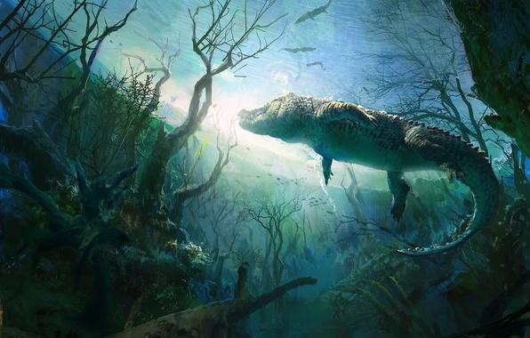 Picture trees, pond, crocodile, art, underwater world, alligator