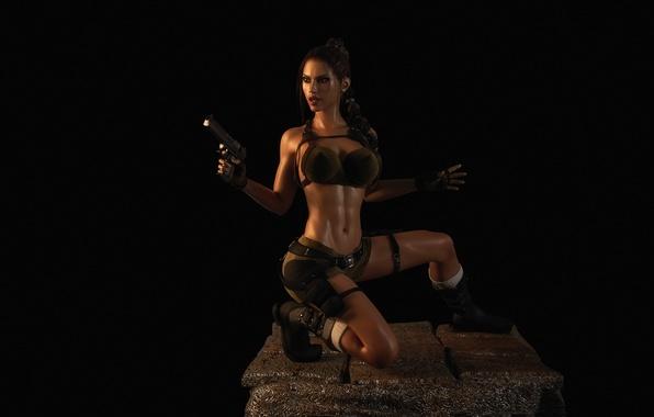 Picture chest, look, girl, gun, shorts, lara croft, tomb raider