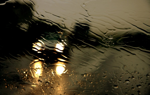 Picture road, glass, water, drops, night, rain, the shower, threads
