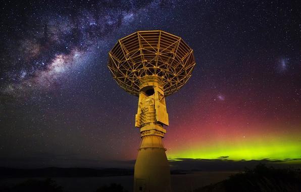 Picture stars, antenna, The milky way, radio telescope
