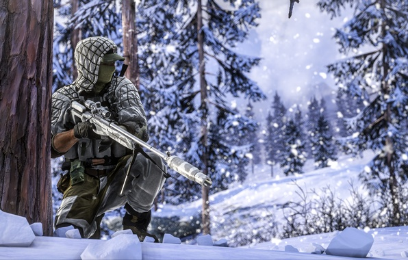 Picture winter, forest, soldiers, sniper, equipment, Battlefield 4