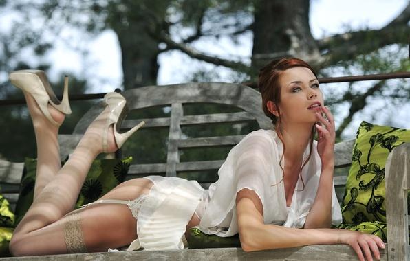 Picture girl, panties, skirt, stockings, lies, shirt., maria eriksson