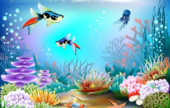 Photo wallpaper bubbles, underwater world, corals, vector, fish