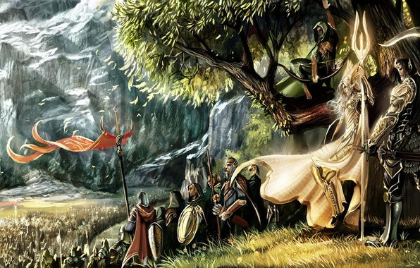 Picture girl, tree, mountain, war, Elves, banners