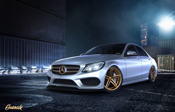 Picture night, Mercedes-Benz, front, containers, Mercedes Benz, by Gurnade, C-Class