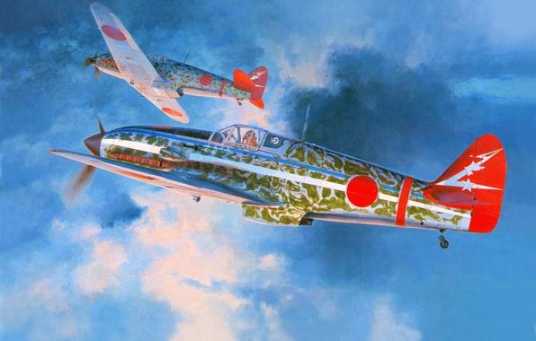 Picture the sky, clouds, figure, art, fighters, Kawasaki, Japanese, WW2, single, Hasegawa, Ki-61, Hasegawa, Ki – …