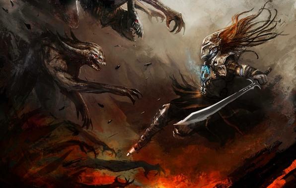 Picture weapons, sword, warrior, art, monsters, armor