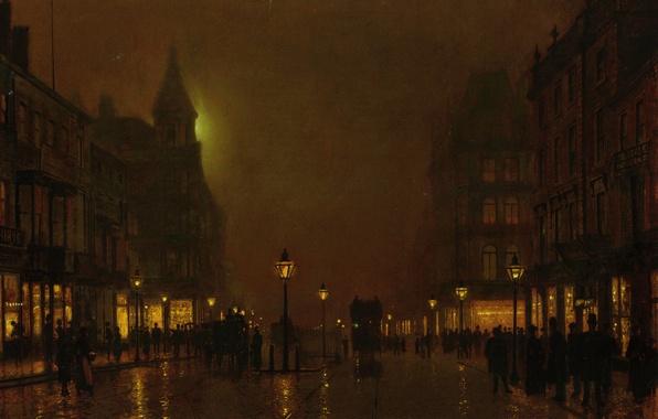 Picture light, night, the city, people, street, home, picture, lights, bridge, showcase, coach, John Atkinson Grimshaw