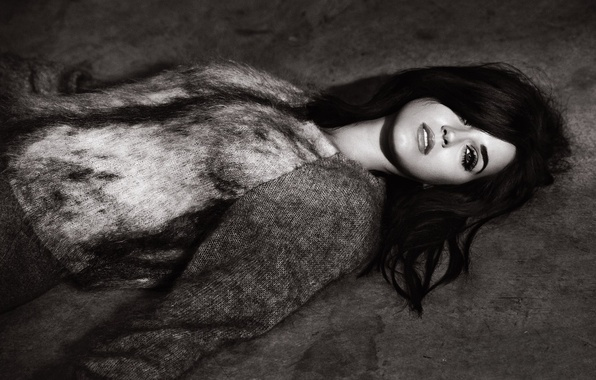 Picture look, girl, face, makeup, brunette, Katy Perry, Katy Perry, lies, black and white, singer, sweater