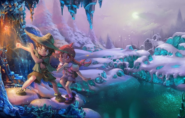 Picture winter, children, magic, magic, boy, girl, cave
