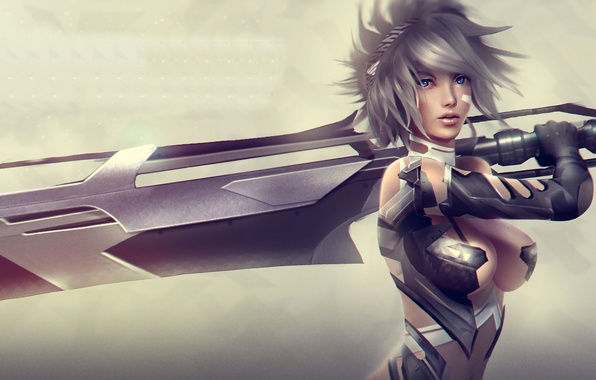 Picture chest, girl, sword, beauty, art, League of Legends, riven, moba, Exile