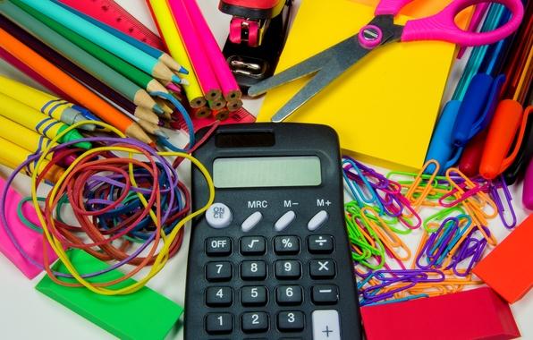 Picture pencils, handle, gum, scissors, line, clip, eraser, accessories, calculator, school, stapler