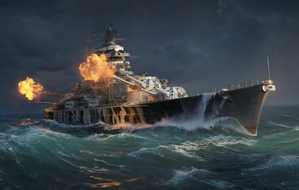 Picture Water, Sea, Wave, Ship, Shot, Camouflage, Tirpitz, Battleship, Wargaming Net, WoWS, World of Warships, The …